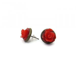Elegant Red Rose Studs