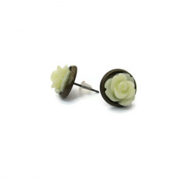 Elegant White Rose Studs