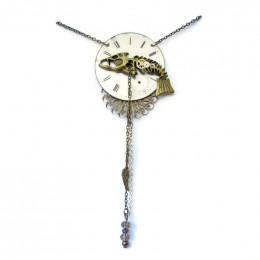 Pocket Watch Fishbone Necklace