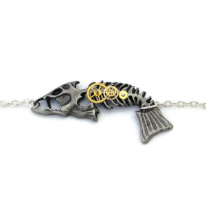 Antique Silver Coloured Steampunk Fishbone Bracelet
