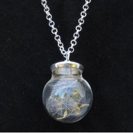 Round Taraxacum Bottle Necklace - Silver Coloured
