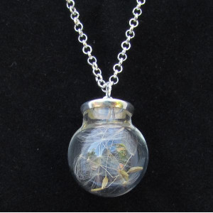 Round Taraxacum Bottle Necklace - Silver Coloured