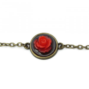 Elegant Red Rose Bracelet