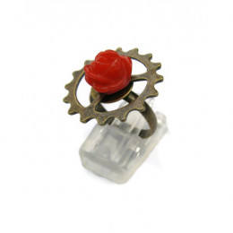 Steampunk Ring with Red Rose