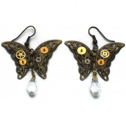 Steampunk Butterfly Earrings with Crystals