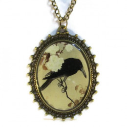 Crow on a Cherry Branch - Necklace