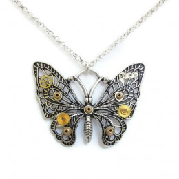 Antique Silver Coloured Butterfly Necklace