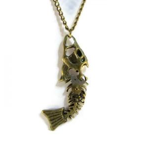 Antique Bronze Coloured Fishbone Necklace