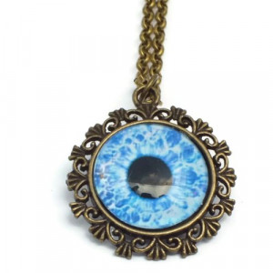 Blue Zombie Eye Necklace