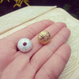 Greek Sea Urchin Earings | Recycled Silver and Gold Urchin Studs | Grecian Sea Urchin Jewellery | Sea Creature Jewelry| Handmade in the UK