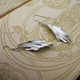 Swirly Silver Leaf Earrings | Fine Silver Earrings | Wavy and Super Light Statement Earrings | One Of A Kind | Handmade in the UK