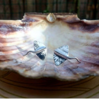 Cute Stingray Stud Earrings | Eco Silver Fish Studs | Oceanic Ray Studs | Quirky Jewellery Gift for Friends | Handmade in the UK