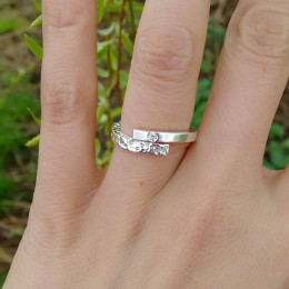 Sparkly Yin and Yang Ring | One Of A Kind Engagement Ring | Alternative Wedding Ring | Civil Partnership Ring | Contemporary Ring | Handmade in the UK
