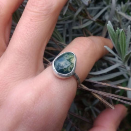 Green Moss Agate Ring - 50% OFF| Mermaid Ring | Personalised Gift | Healing Crystal Ring | Magical Ring | One Of A Kind Eco Silver Jewellery | Gemini Gift
