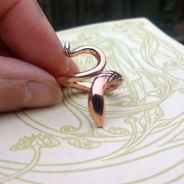 Copper Serpent Ring for Men | Unisex Snake Ring | Rustic Statement Ring | Ring of Wisdom | Birthday Gift for Him