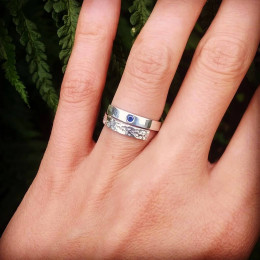 Sparkly Blue Sapphire Yin and Yang Ring | Sparkly Engagement Ring | Alternative Wedding Ring | Civil Partnership Ring | Magical Sterling Silver Ring Band