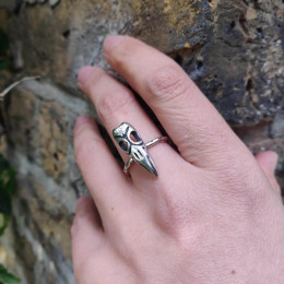 Three Eyed Raven Skull Ring   Gothic Raven Ring   Sterling Silver Raven Skull Ring   Game of Thrones Ring   Handmade in the UK