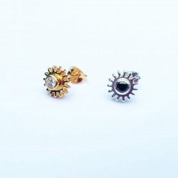 Yin and Yang Stud Earrings   Recycled Sterling Silver Star Studs   Harmony and Balance Gift   18k Gold Plated Mismatched Gear Earrings