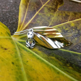 Tree Spirit Kodama Pendant | Kodama with Leaf Necklace | Japanese Folklore | Geek Gift | Anime Gift | Kawaii | Birthday Gift for Best Friend