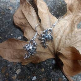 Silver Dragon Earrings   Halloween Jewelry  Geek Earrings   Fantasy Jewellery   Kids Halloween Party