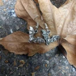 Silver Bat Earrings   Horror Bat Jewellery   Halloween Earrings  Geek Earrings