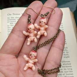 Macabre Baby Doll Earrings and Necklace  Freakie Baby Dolls  Serial Killer  Monster Baby Dolls  Oddities Jewelry