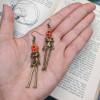 Dancing Skeleton Earrings   Pumpkin Fun Skull Earrings   Spooky Halloween Party Jewelry   Zombie Cosplay Jewelry   Horror Costume Earrings