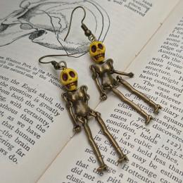 Dancing Skeleton Earrings | Yellow Lantern Skull Earrings | Zombie Skeleton Halloween Costume Jewellery| Death Earrings| Geek Earrings
