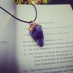 NEW - The Dark Crystal | Large Amethyst Pendant on Waxed Cotton Cord