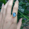 NEW - Chunky Blue Tanzanite on Sterling Silver Band Ring