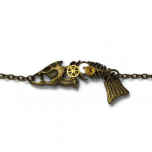 Antique Bronze Coloured Steampunk Fishbone Bracelet