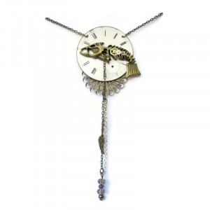Pocket Watch Fishbone Necklace