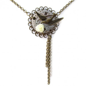 Steampunk Bird White Rose Necklace