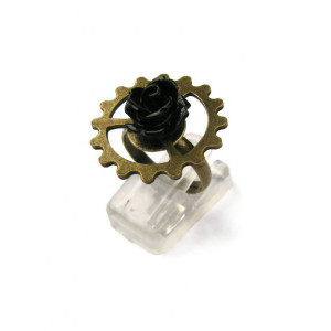Steampunk Ring with Black Rose