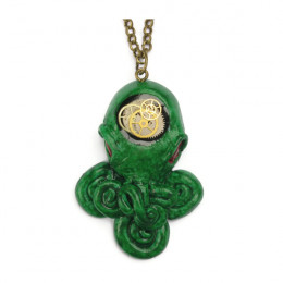 Green Steampunk Cthulhu Necklace