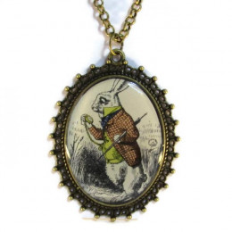 'The White Rabbit' - Victorian Style Oval Necklace