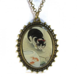Cat and Bowl of Goldfish - Necklace