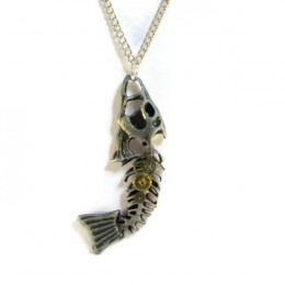 Antique Silver Coloured Fishbone Necklace