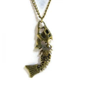 Antique Bronze Coloured Fishbone Necklace