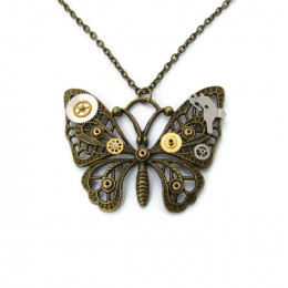 Antique Bronze Coloured Butterfly Necklace
