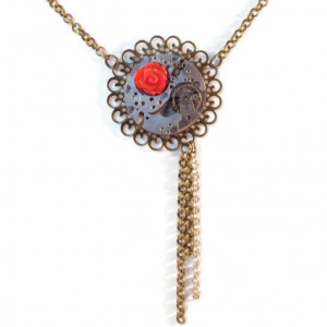 Steampunk Necklace with Red Rose